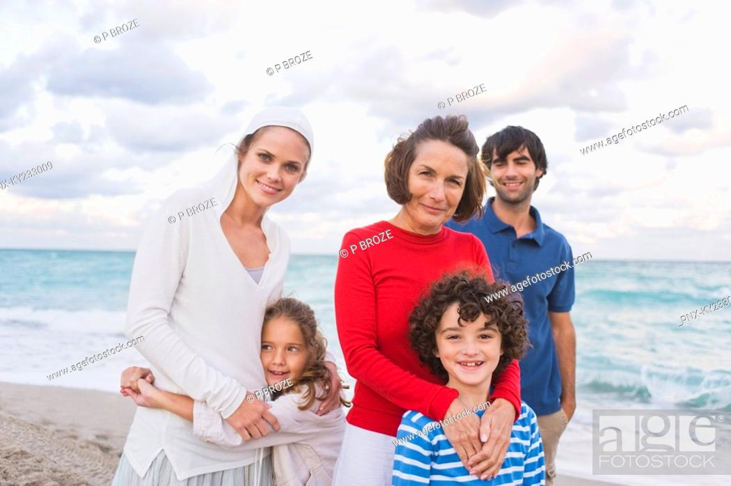 Stock Photo: Family on the beach.