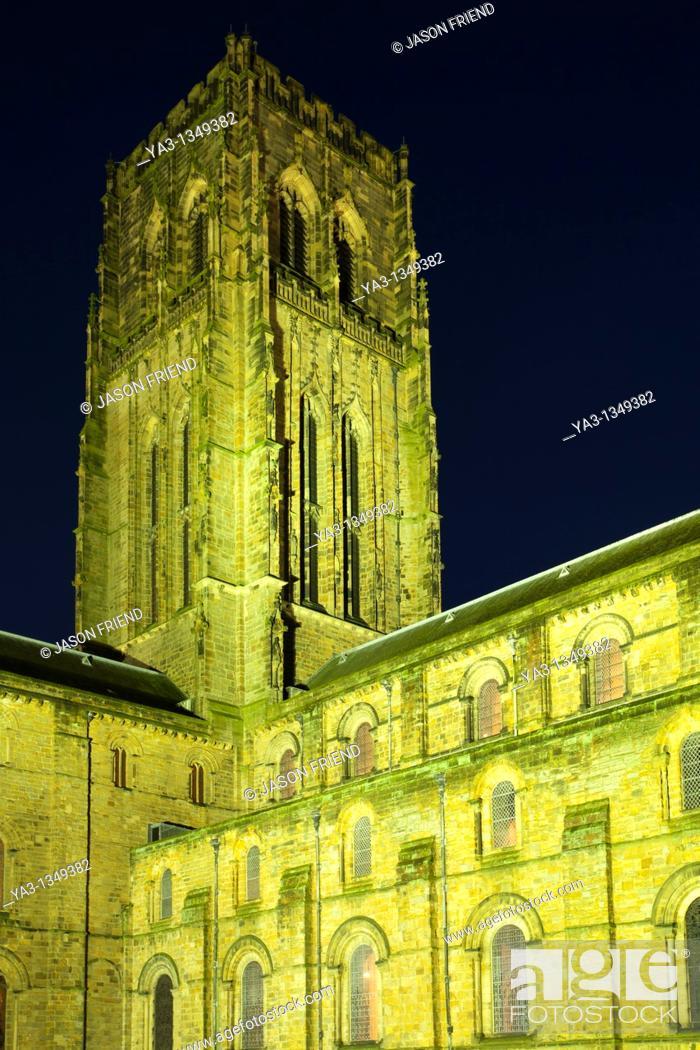 England County Durham Durham City Durham Cathedral At Dusk Durham