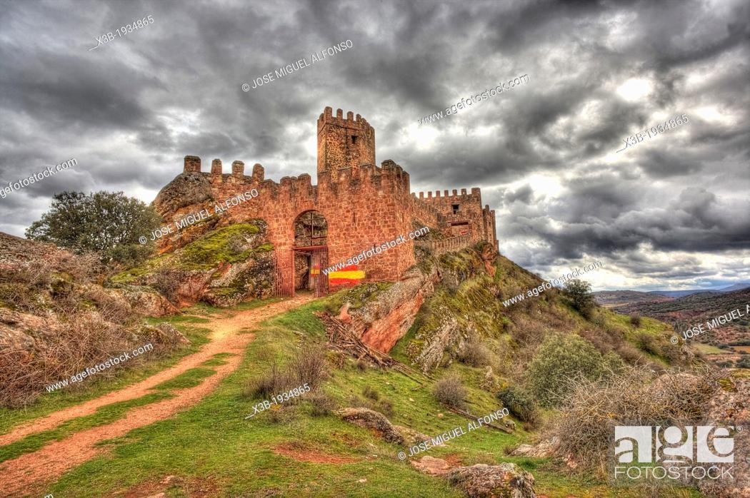 Stock Photo: Riba de Santiuste castle, Guadalajara, Spain.
