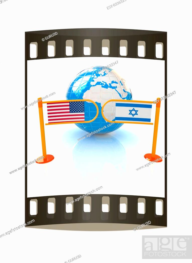 Imagen: Three-dimensional image of the turnstile and flags of America and Israel on a white background. The film strip.
