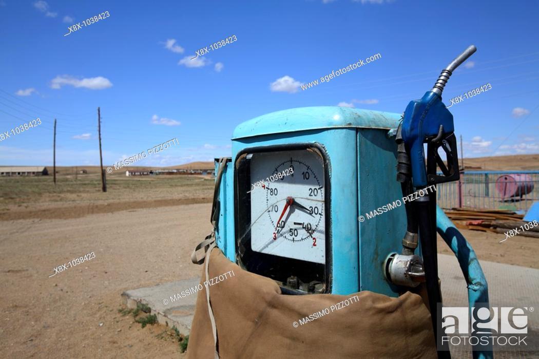 Stock Photo: Petrol station in the Gobi desert, Mongolia.