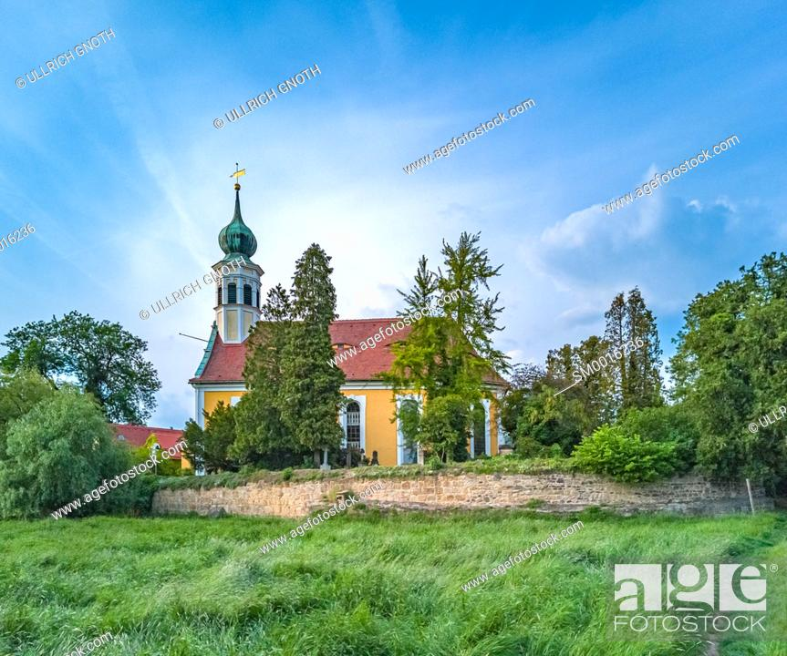 Stock Photo: Church Maria am Wasser (Mary By The Waters) in Hosterwitz, Dresden, Saxony, Germany.