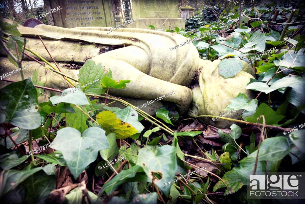 Stock Photo: Close-up of a fallen sculpture of a virgin, half covered by leaves. Abney Park Cemetery, Stoke Newington, London, England, UK.