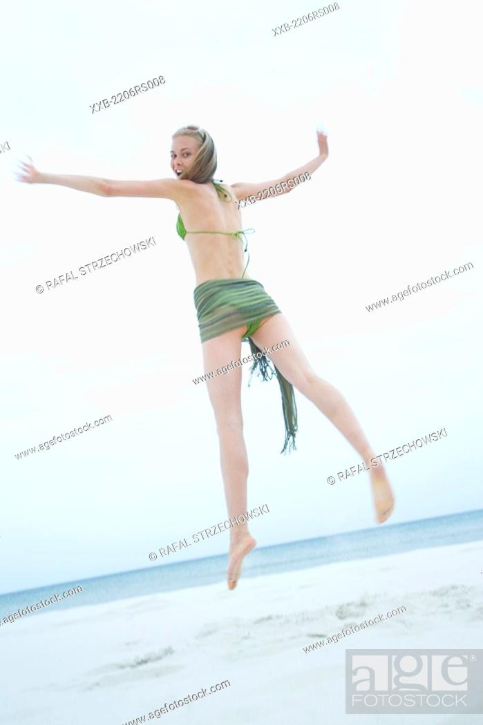 Stock Photo: beauty woman on beach.