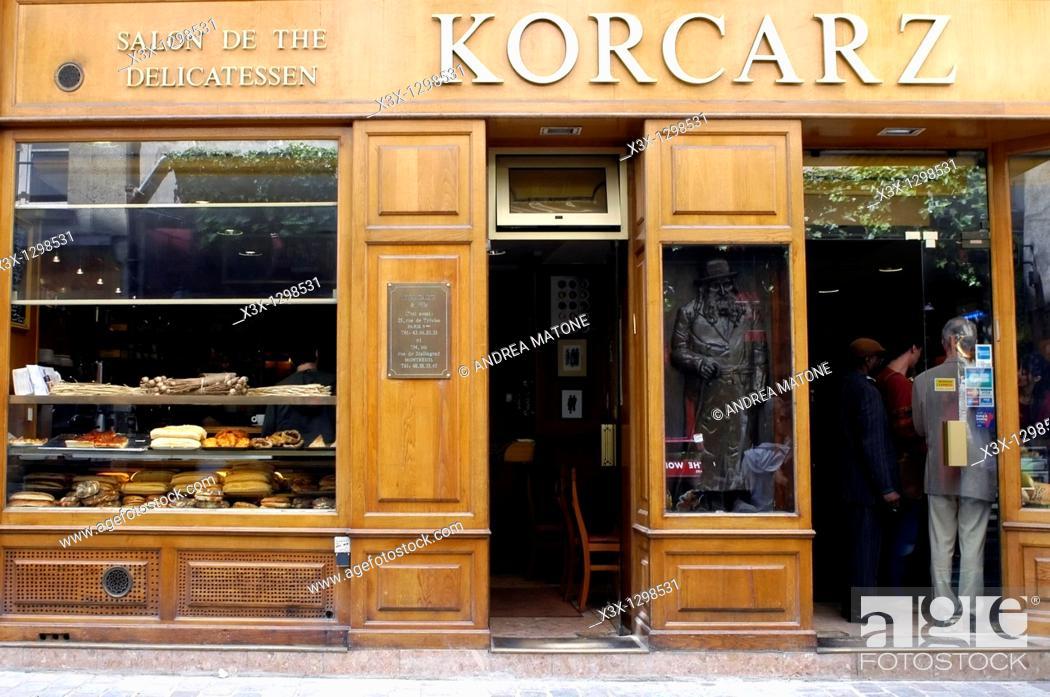Stock Photo: 4em Marais quarter wooden delicatessen shop window Paris France.