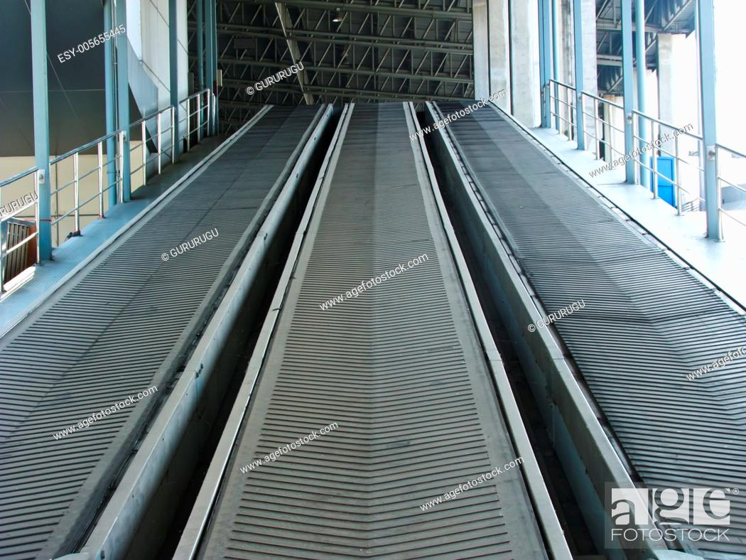 Stock Photo: Rubber industrial conveyer.