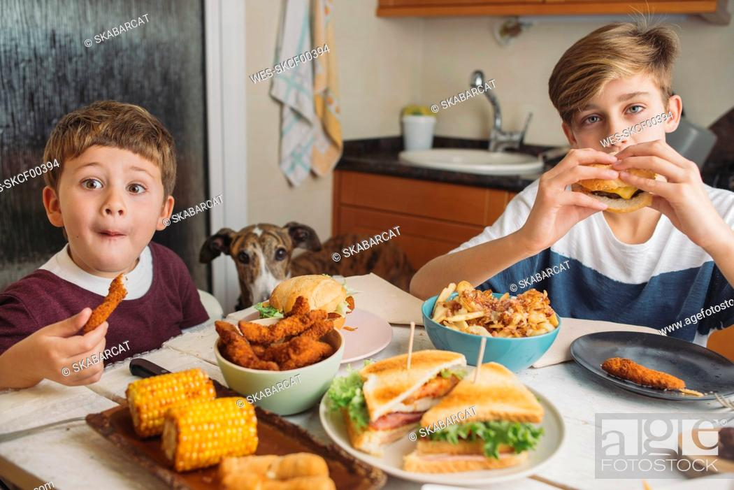 Stock Photo: Two boys with dog enjoying american food at dining table at home.