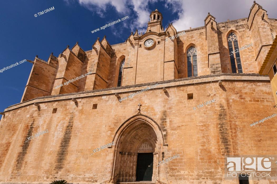 Stock Photo: The Cathedral in Ciutadella de Menorca , Menorca , Balearic Islands , Spain.