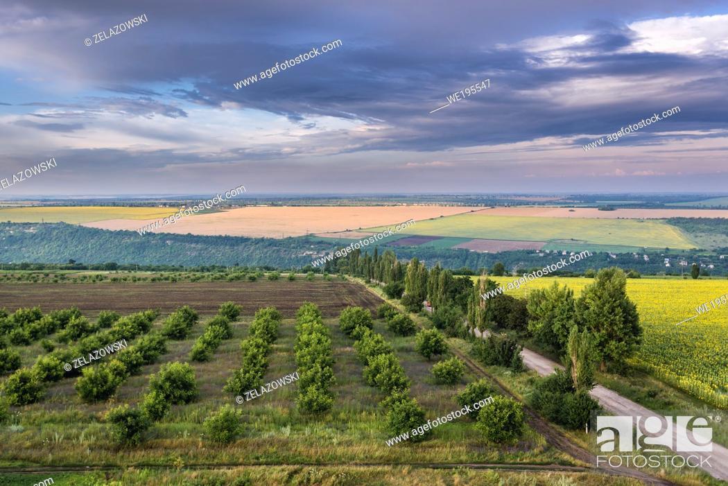 Stock Photo: Aerial view on a fields in Saharna Noua village, Rezina District of Moldova.