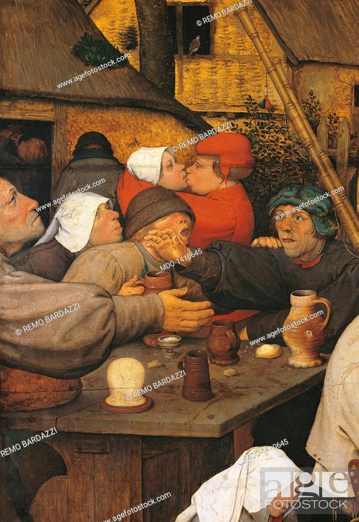 Stock Photo: The Peasant Dance, by Pieter Bruegel the Elder, 1566, 16th Century, oil on wood, cm 114 x 164. Austria, Wien, Kunsthistorisches Museum. Detail.