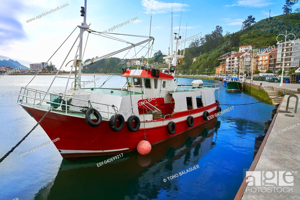 Stock Photo: Ribadesella port in Asturias Sella river from Spain.