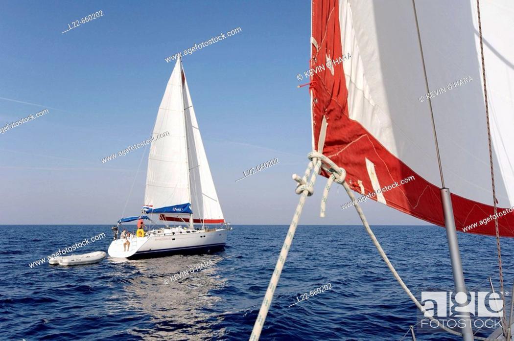 Stock Photo: Sailing between islands. Southern Dalmatian coast. Croatia.