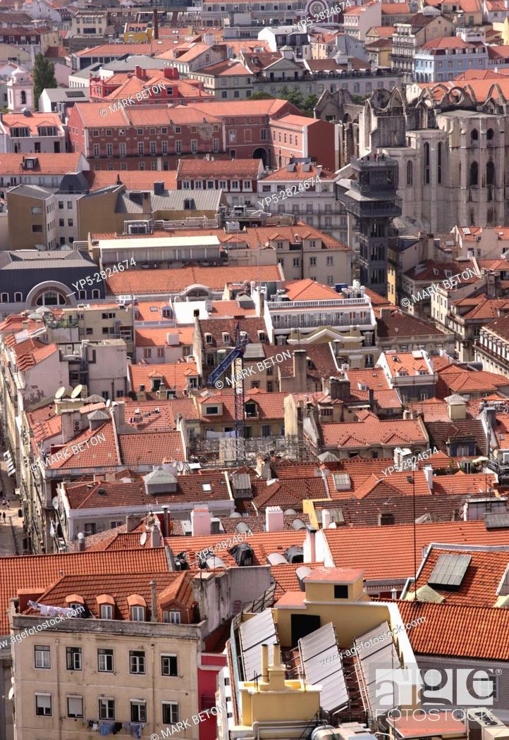 Stock Photo: Lisbon Baixa cityscape Portugal.