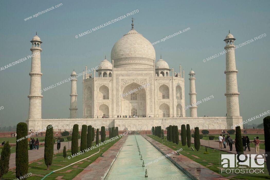Stock Photo: entrance of taj mahal Agra Uttar Pradesh India Asia.