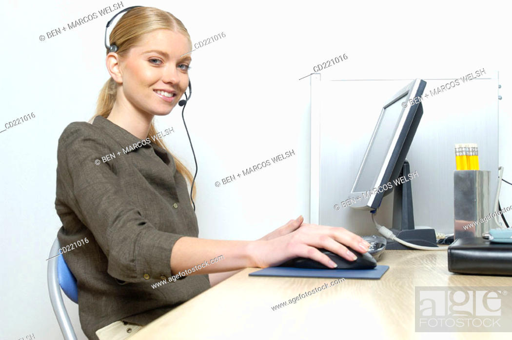 Stock Photo: Operator working in office.