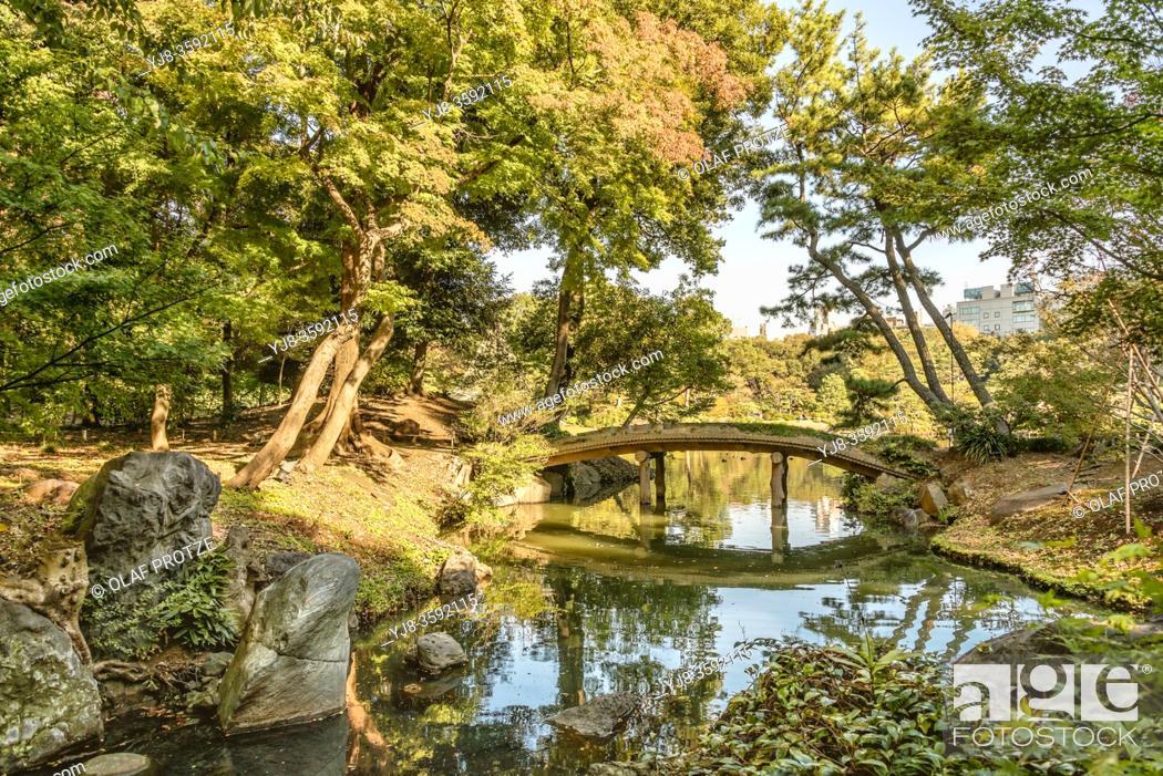Stock Photo: Mizuwake-shi garden and Chidori-bashi Bridge at Rikugi-en Gardens, Tokyo, Japan.