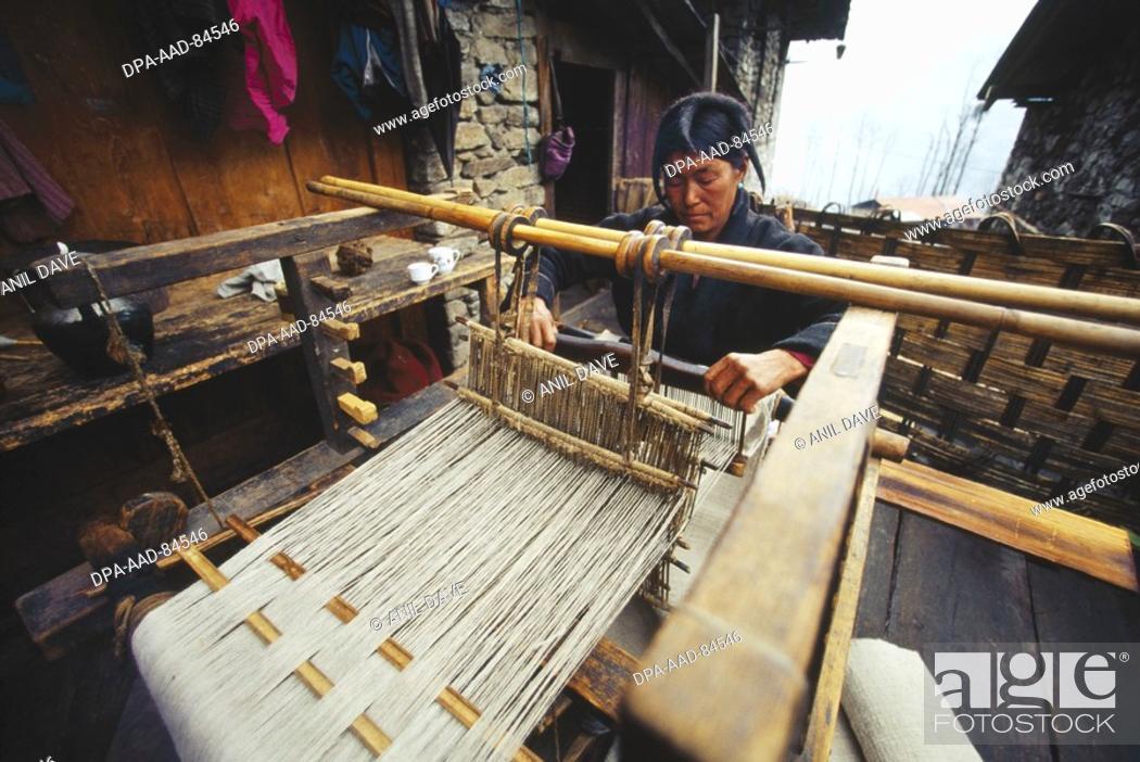 Mompha Tribe woman weaving on Handloom , Tawang , arunachal