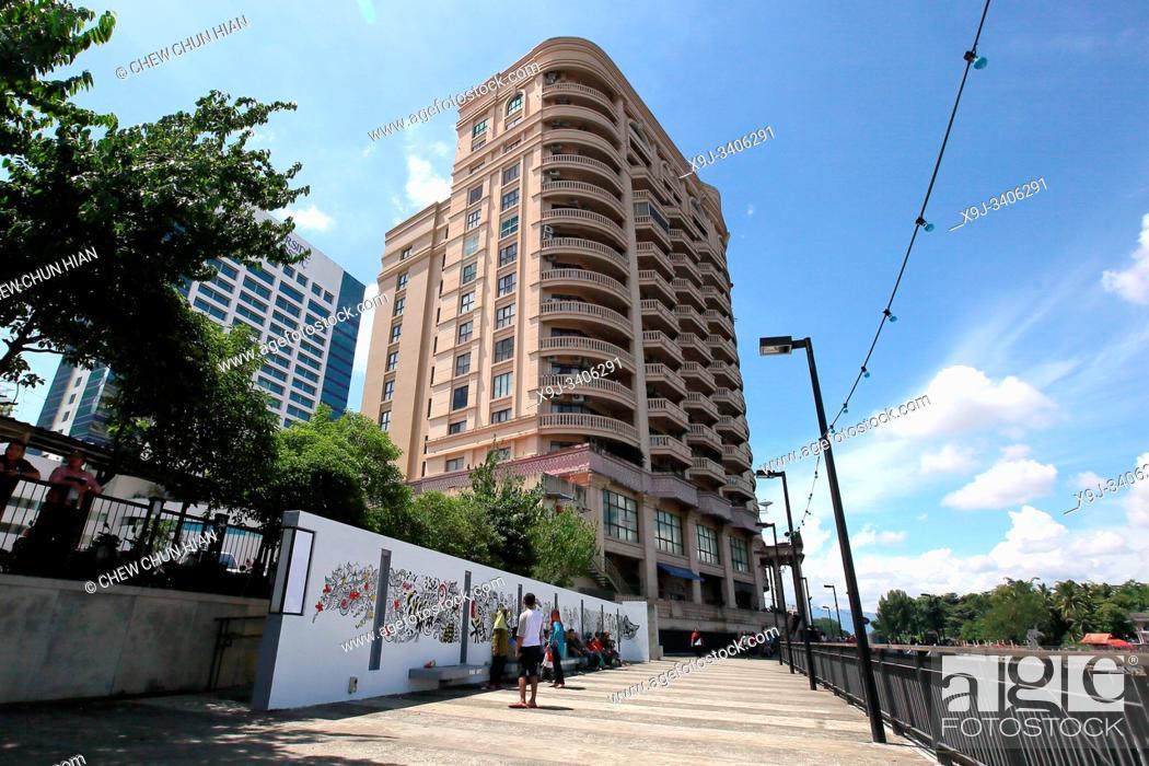 Stock Photo: Imperial Riverbank Hotel, Riverbank Suites Building at Water Front Kuching, Kuching, Sarawak, Malaysia.