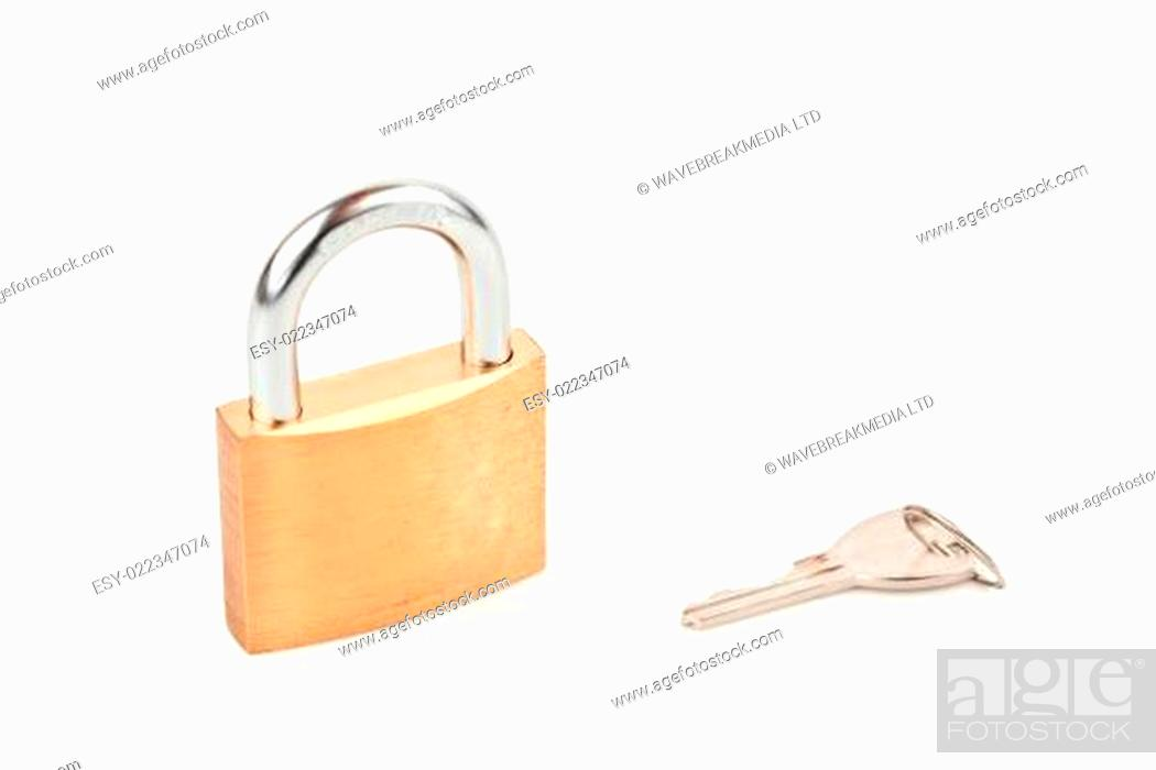 Photo de stock: Padlock with key against white background.