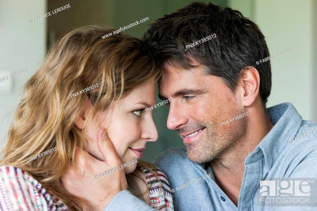 Stock Photo: Close-up of a happy romantic couple.