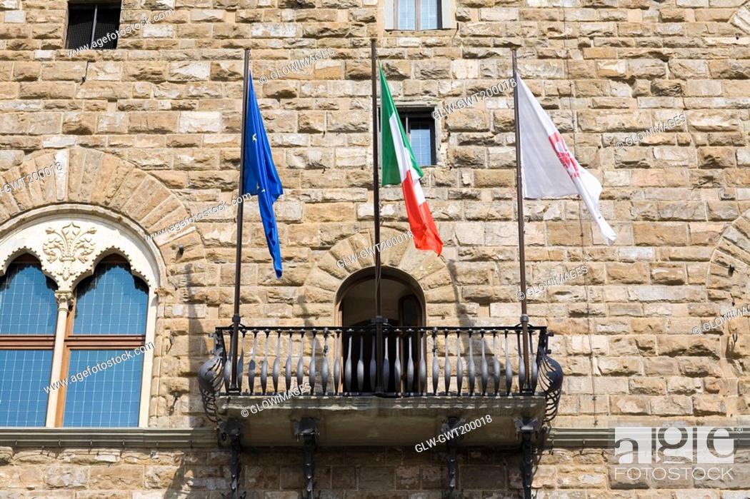 Stock Photo: Low angle view of the balcony of a palace, Pallazo Vecchio, Piazza Della Signoria, Florence, Italy.