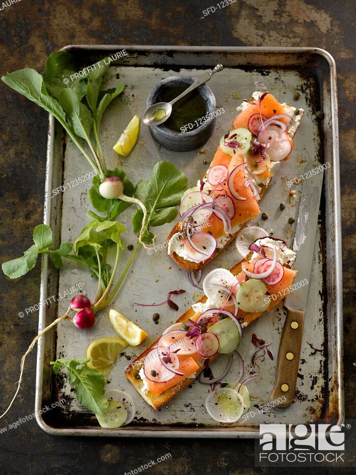 Stock Photo: A smoked salmon baguette with radish.