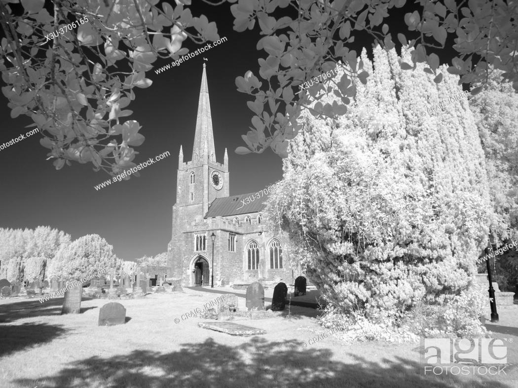 Stock Photo: A black and white infrared image of St Andrews Church at Congresbury, North Somerset, England.