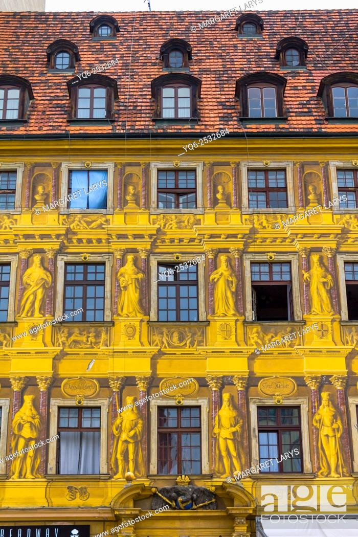 Stock Photo: Close up of old, beautiful, colorful and unique historical tenement houses at the Old Market Square in Wroclaw, Poland.