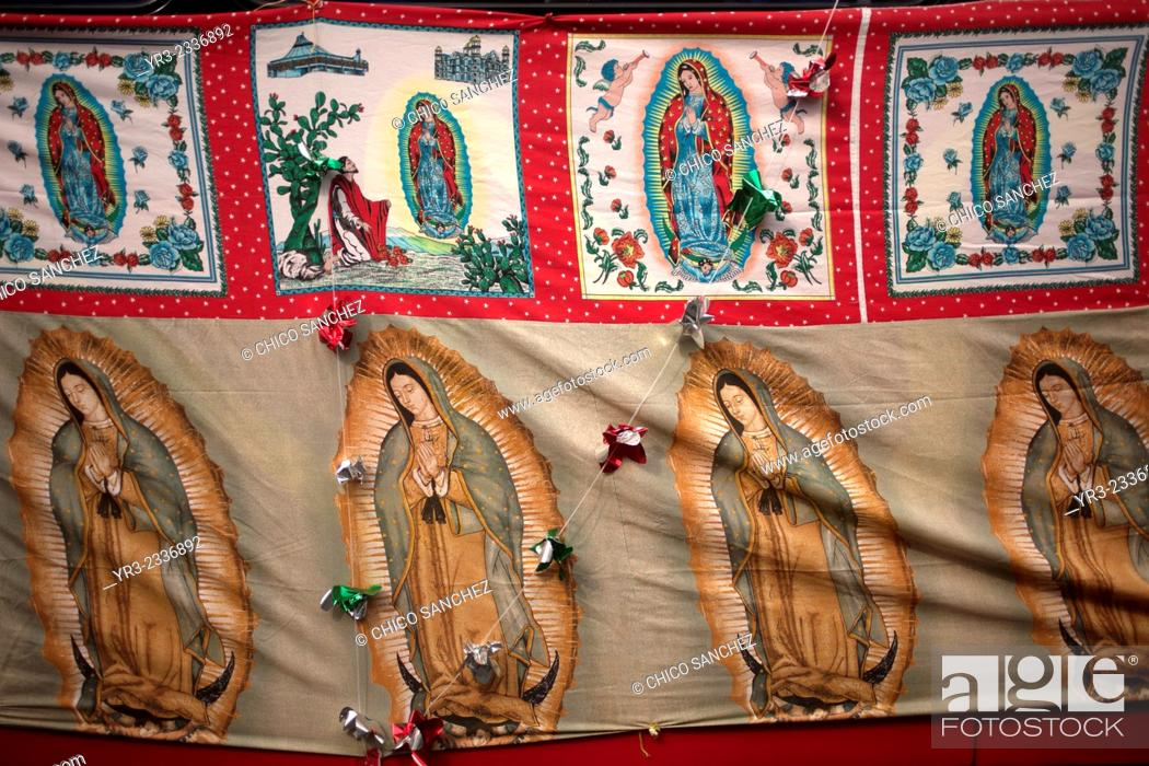 Stock Photo: Images of the Virgin of Guadalupe during the annual pilgrimage to the Basilica of Our Lady of Guadalupe, Tepeyac Hill, Mexico City, Mexico.