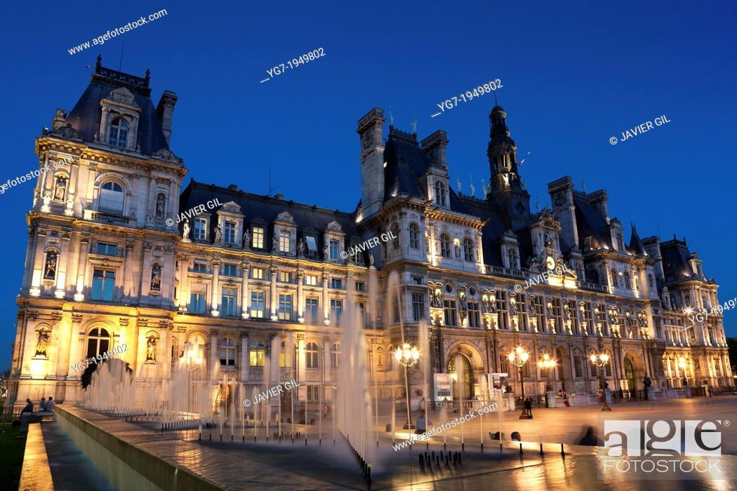 Stock Photo: Hotel de Ville, Paris, Ile de France, France.