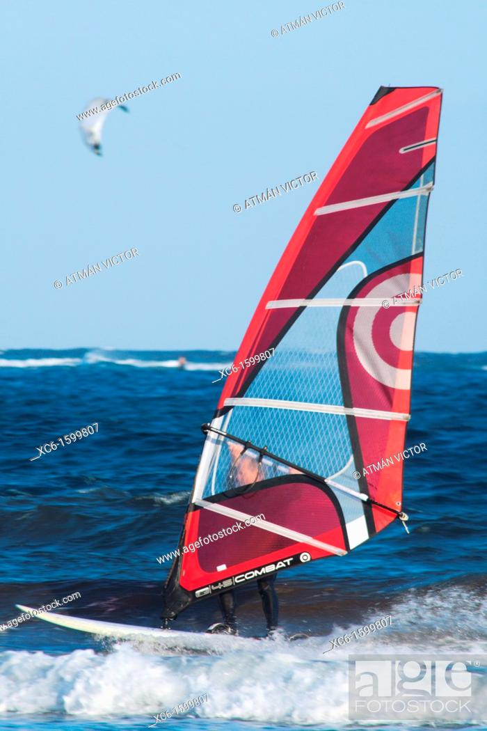 Stock Photo: Windsurfing on the beach of El Medano, Tenerife, Canary Islands, Spain.