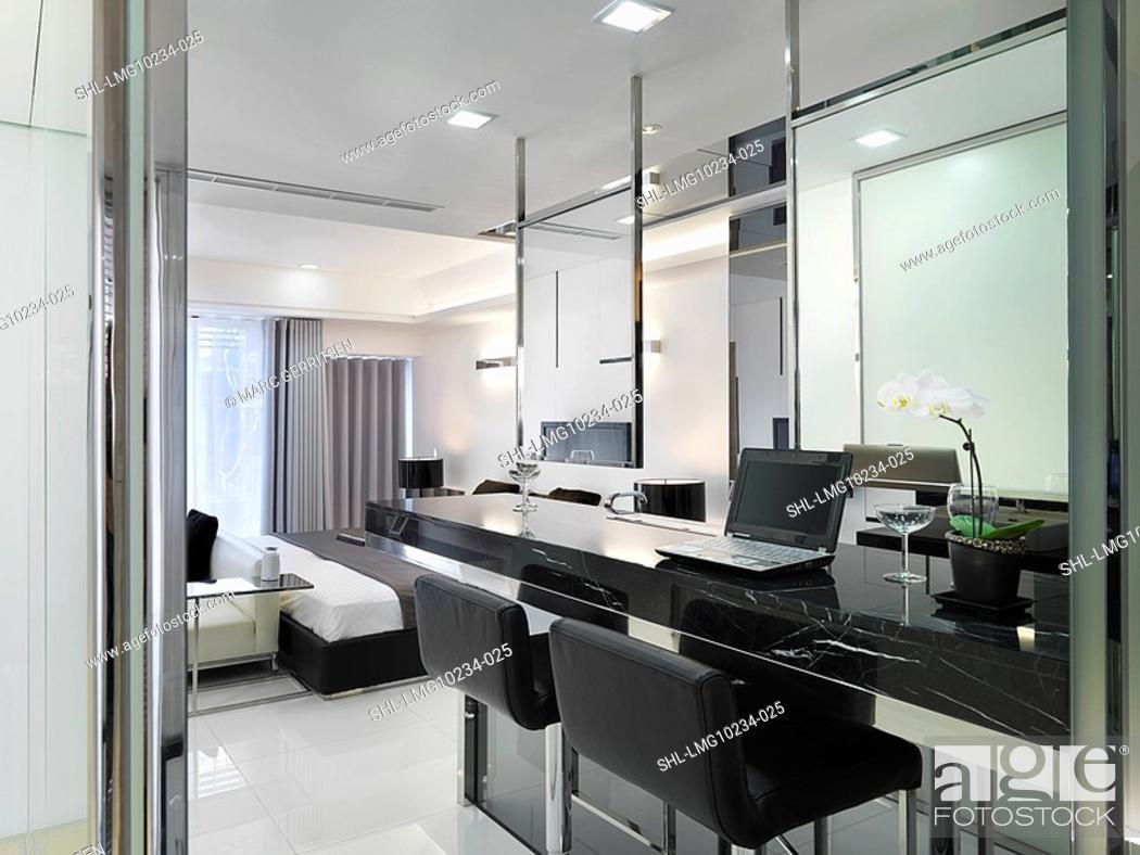 Stock Photo: Black marble desk in modern home.