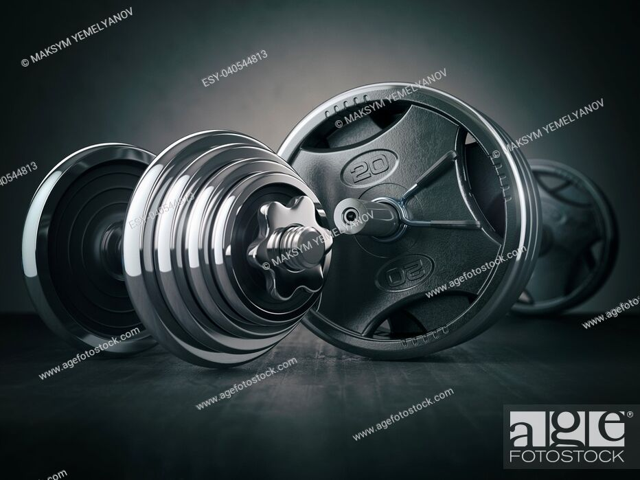 Stock Photo: Barbell and dumbell. Sports bodybuilding equipment on black background. Fitness or healthy lifestyle concept. 3d illustration.