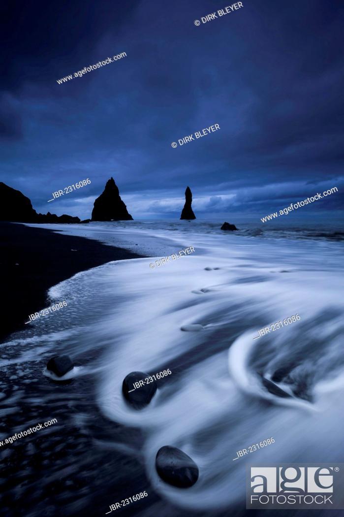 Stock Photo: Reynisdrangar rock formation near Vik í Mýrdal, black sandy beach, southern coast, Iceland, Europe.