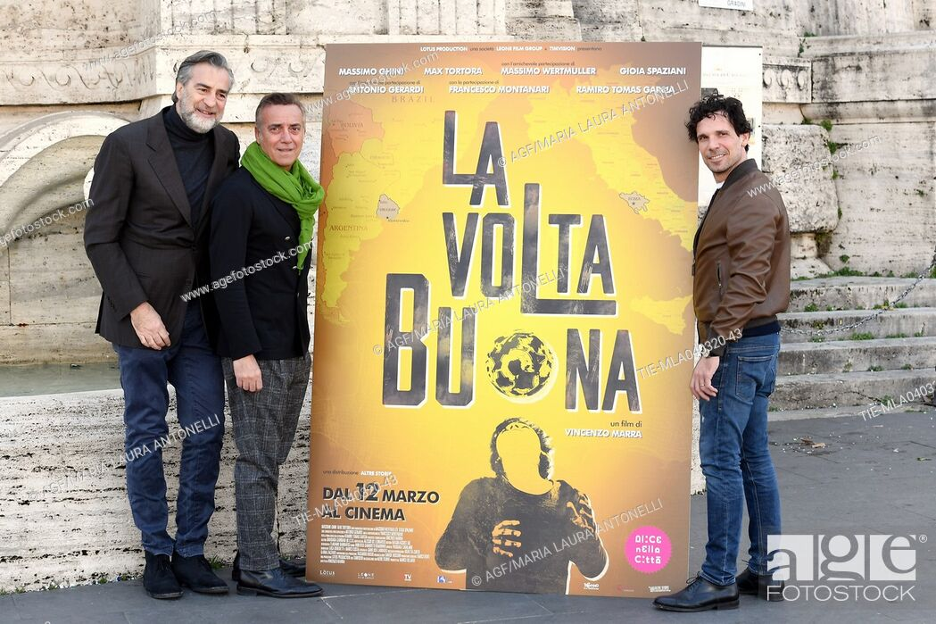 Stock Photo: Massimo Ghini, Max Tortora, Francesco Montanari during 'La volta buona' film photocall, Rome, 04/03/2020.