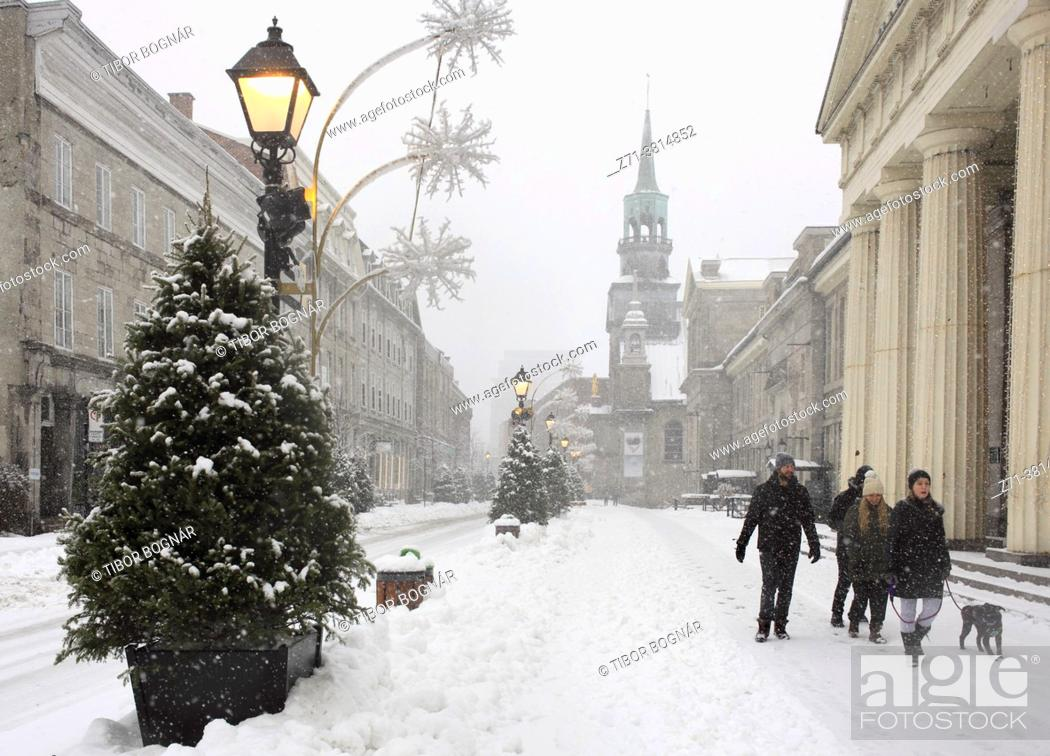 Stock Photo: Cananda, Montreal, snowfall, Notre-Dame-de-Bon-Secours chapel, Old Montreal, .