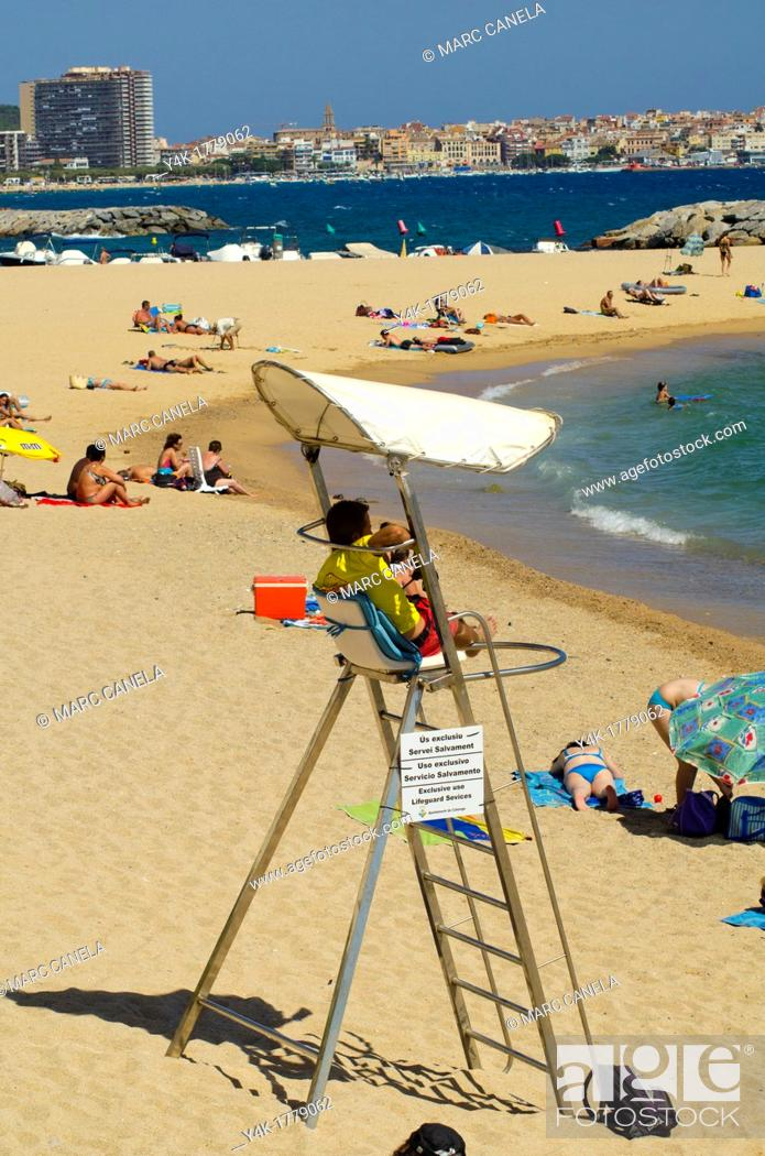 Stock Photo: Europe, Spain, Calonge beach liveguard in the beach.