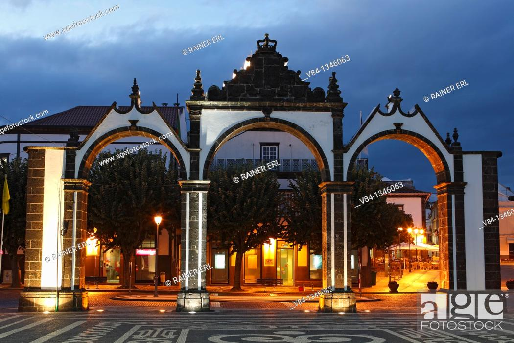 Stock Photo: City Gates / Ponta Delgada / Sao Miguel Island / Azores / Portugal.
