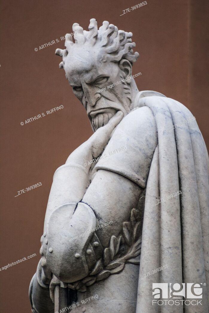 Stock Photo: Sculpture of Admiral Andrea Doria by Eugenio Baroni. Statue on balustrade above the Nino Bixio Tunnel (Galleria Nino Bixio), Genoa, Liguria, Italy, Europe.
