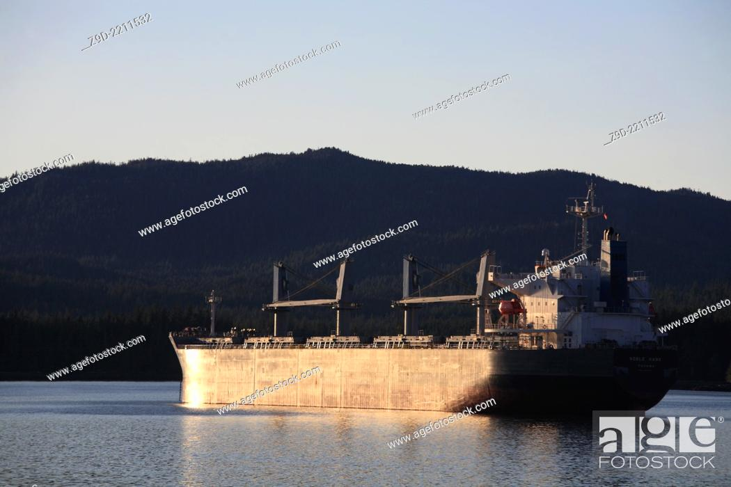 Stock Photo: Cargo ship at anchor in harbour, Prince Rupert, BC.