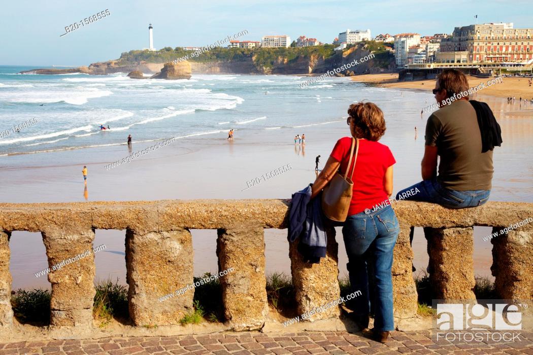 Stock Photo: Grande Plage Beach, Biarritz, Aquitaine, Basque Country, Pyrenees Atlantiques, 64, France.