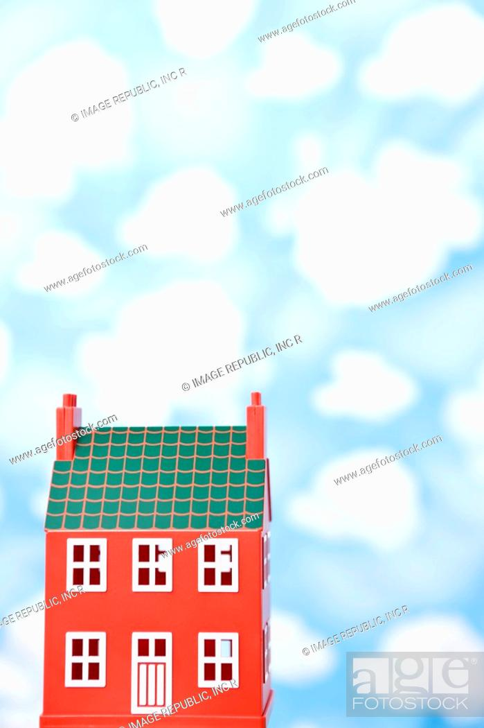 Stock Photo: wallpaper and model house.