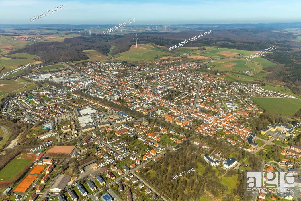 Stock Photo: Aerial view, Bad Arolsen, Hesse, Germany.