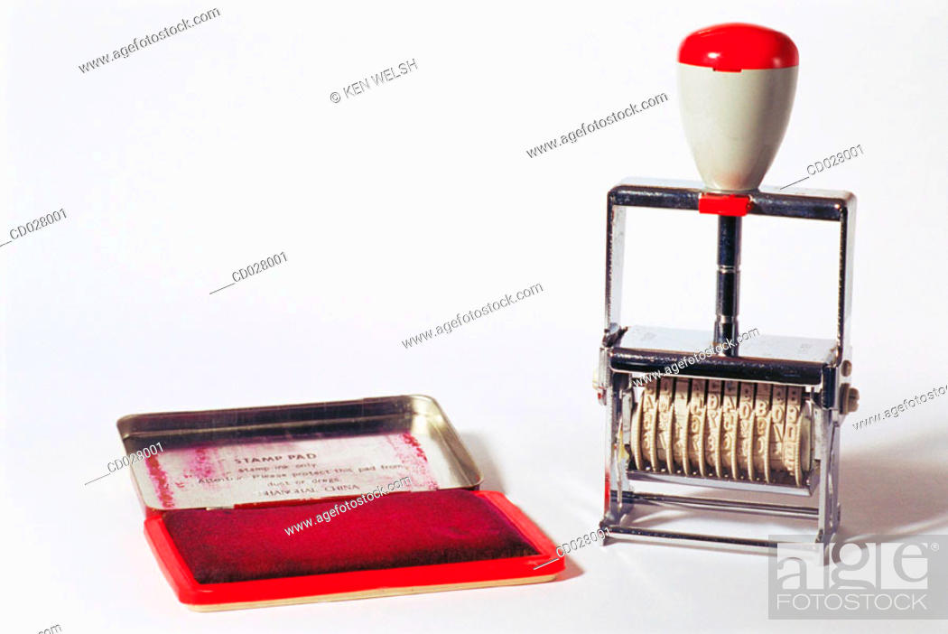 Stock Photo: Date stamp and ink pad.