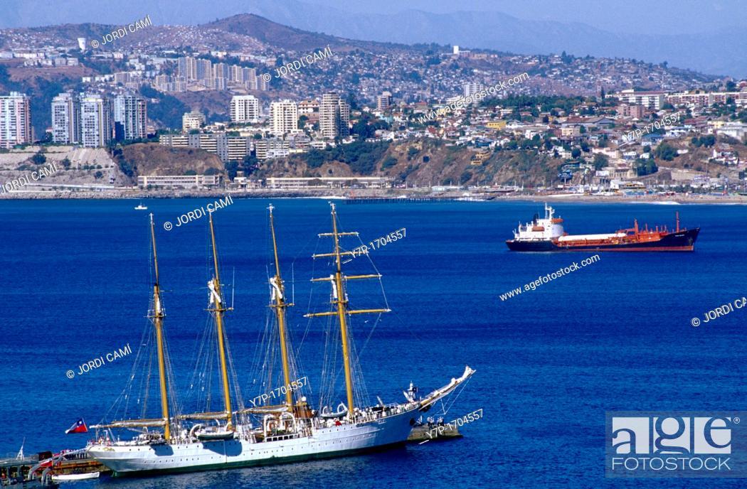 Stock Photo: El Esmeralda school-ship at port  Valparaíso  Chile.