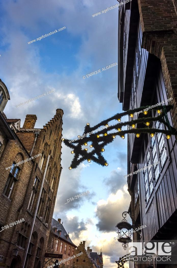 Stock Photo: Christmas decoration in the street, Brugges, Belgium.
