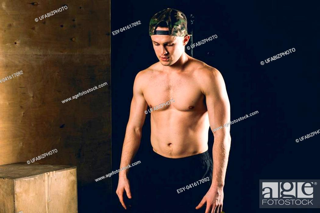 Stock Photo: Portrait Of A Physically Fit Man In A Health Club.