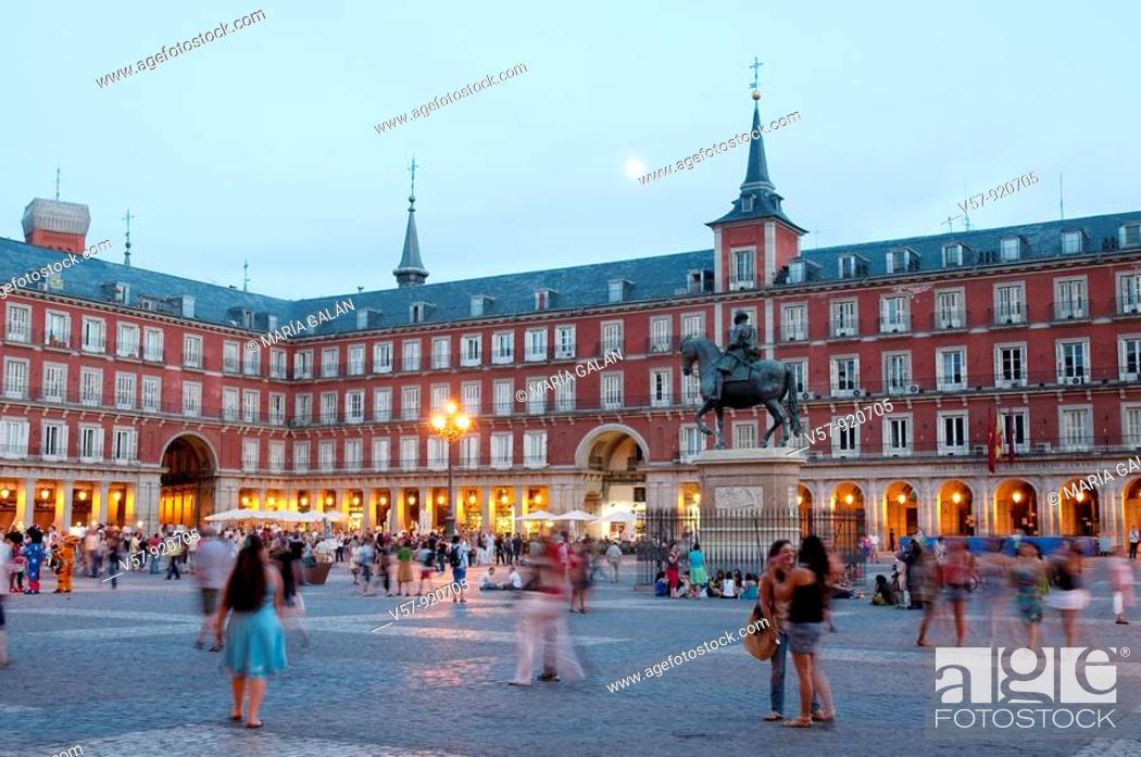 Stock Photo: Plaza Mayor at dusk. Madrid, Spain.
