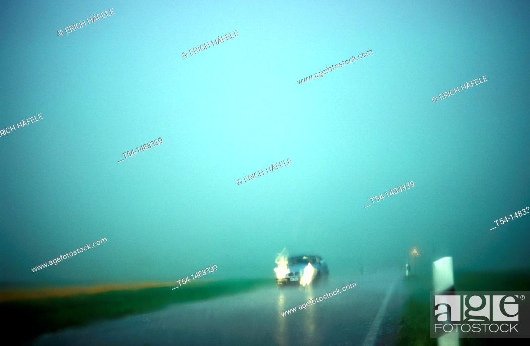 Stock Photo: Heavy rain during the car ride.