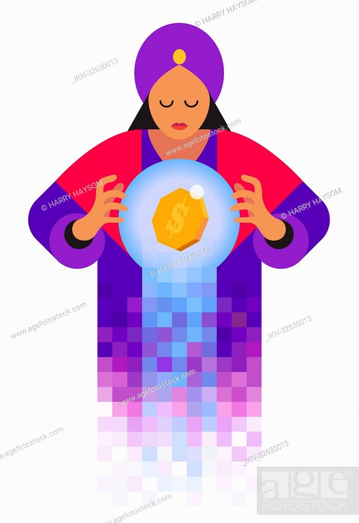 Imagen: Fortune teller looking in crystal ball with dollar sign.